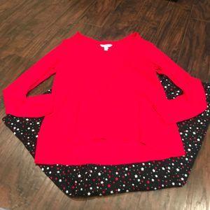 Soma red tee and star printed pj set long sleeve